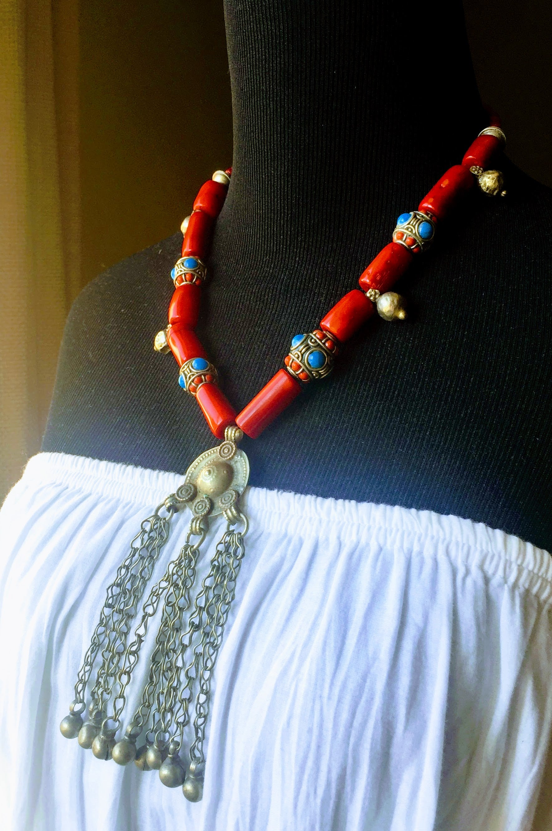 pin berber sterling and this handmade necklace turquoise features a red silver coral it is