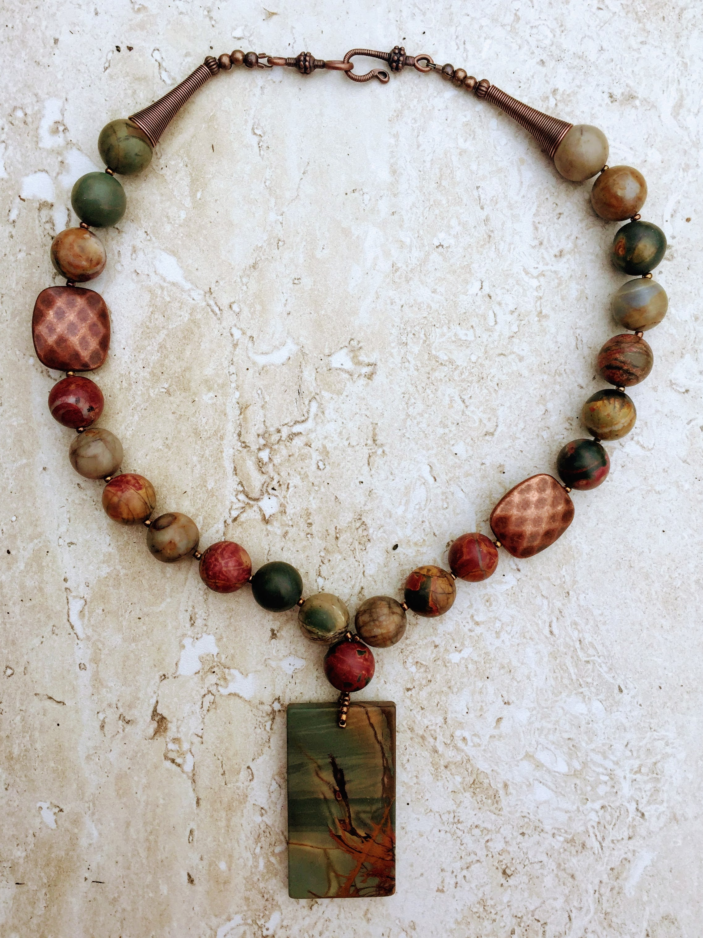 bohemian versatile necklaces boho wear sophisticated office jasper mala long jewelry fall knotted squares accessory products fashion picasso necklace knot artistic collections