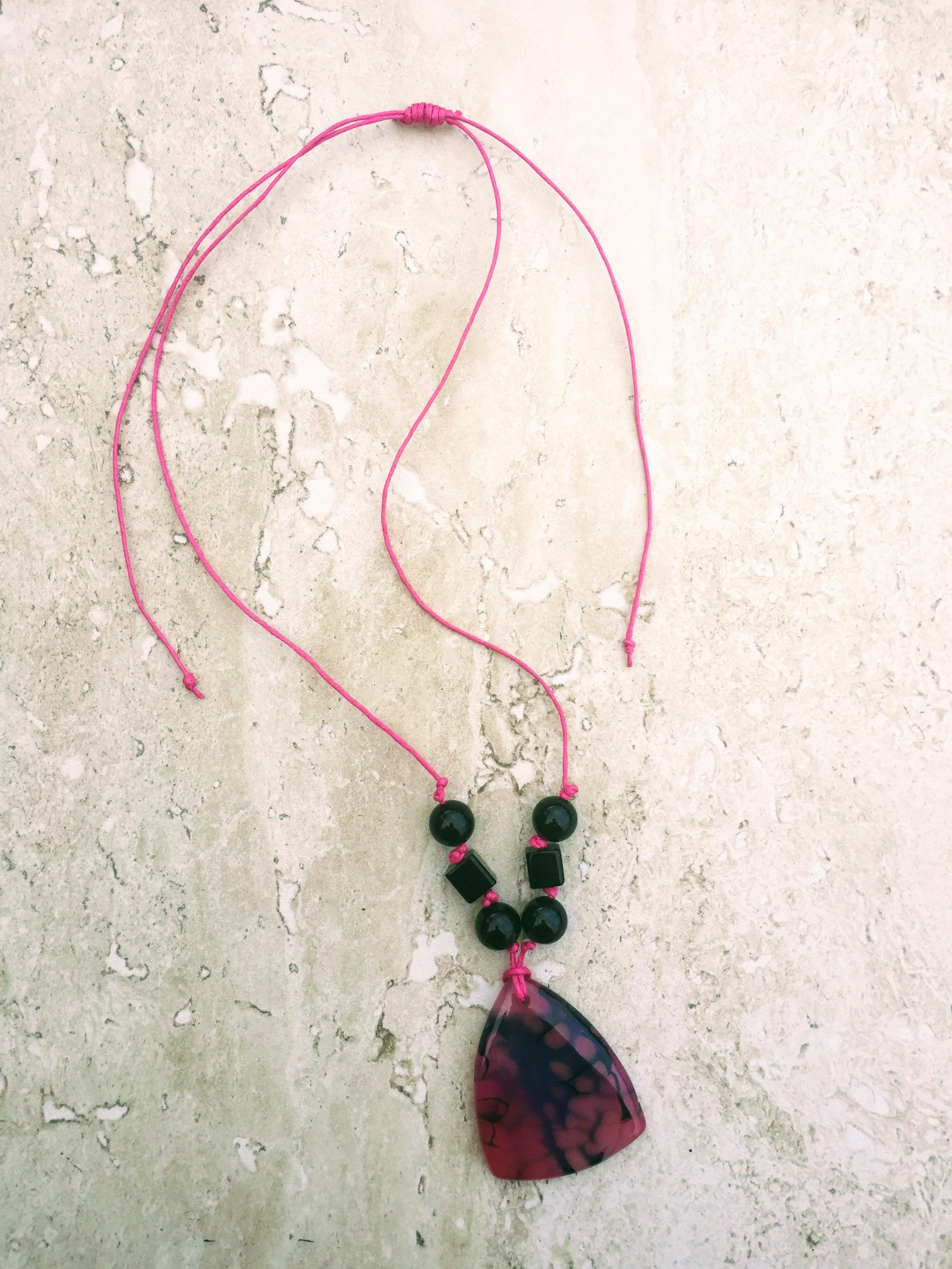 Hot pink black agate necklace metal free jewelry christmas gift hot pink black agate pendant necklace metal free sensitive skin necklace aloadofball Image collections