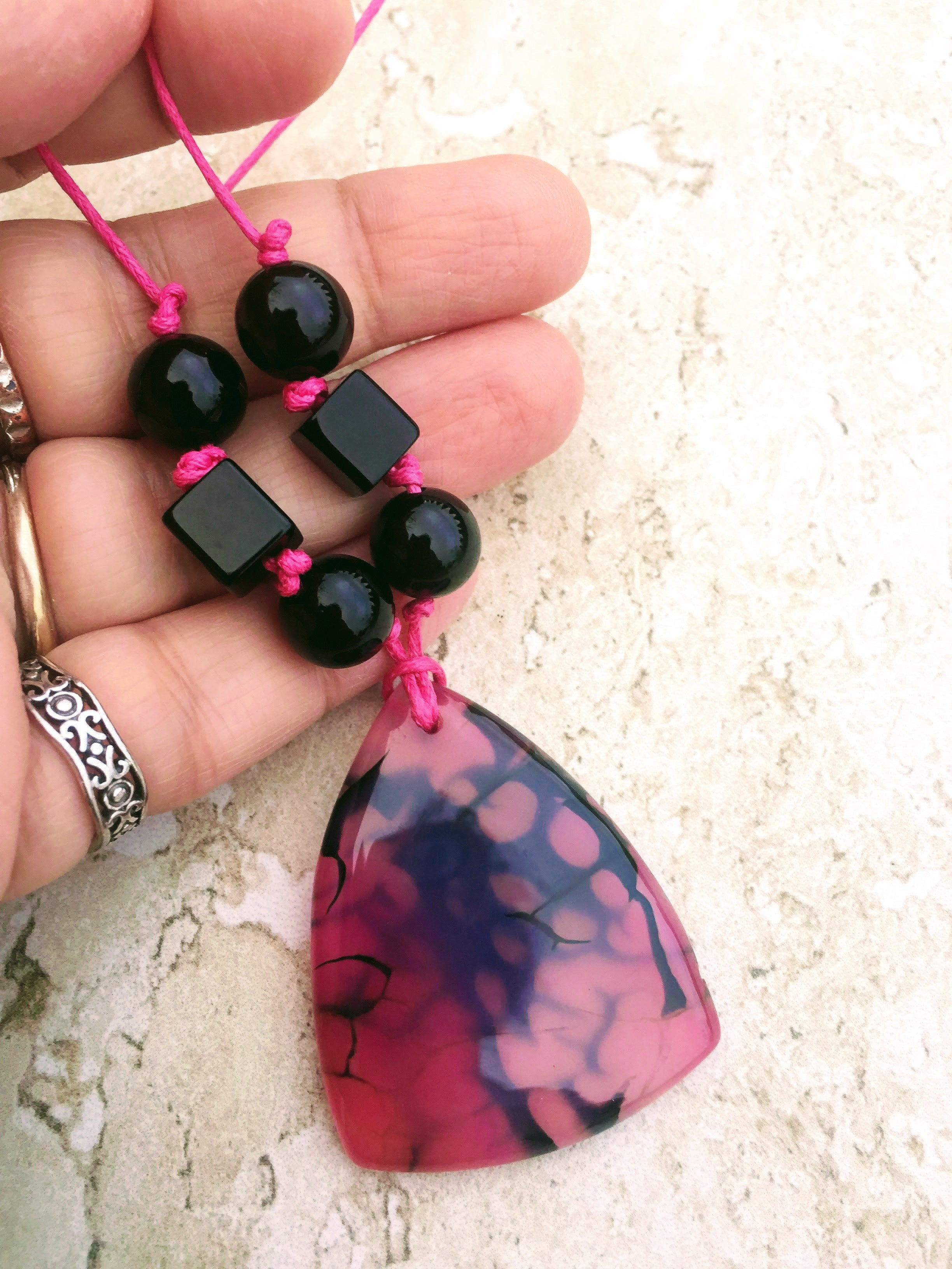 Hot pink black agate necklace metal free jewelry christmas gift triangle pendant pink black necklace aloadofball Image collections