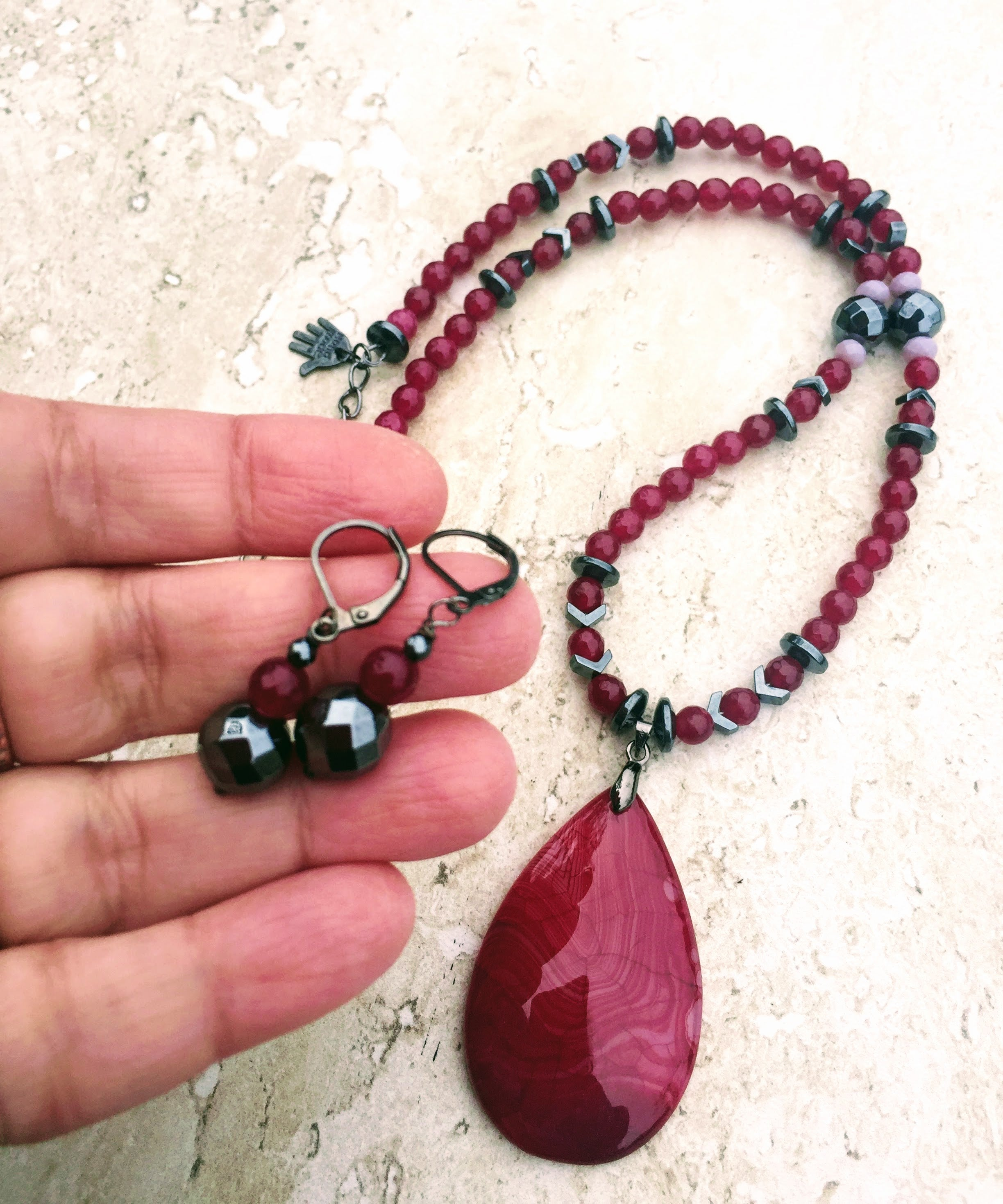 Necklace and Earring Set Statement Piece. Agate and Metal Beaded Jewelry