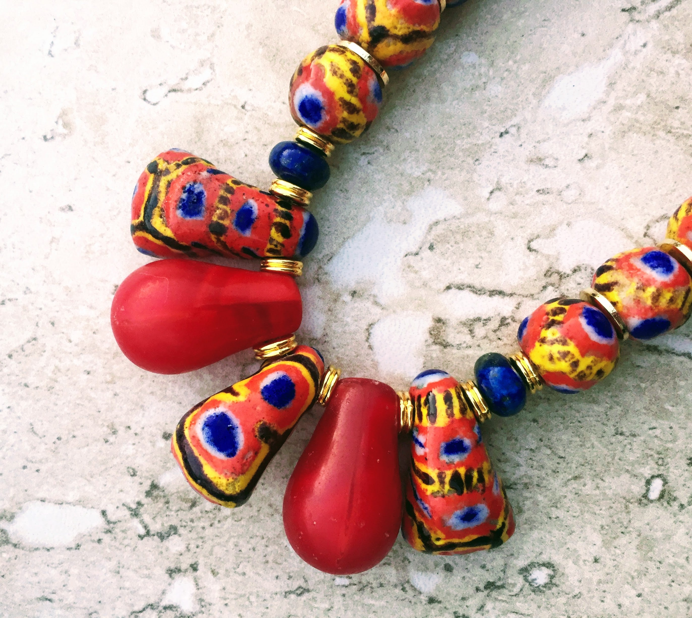 african rare trade with bead necklace products inches fullxfull murano focal il