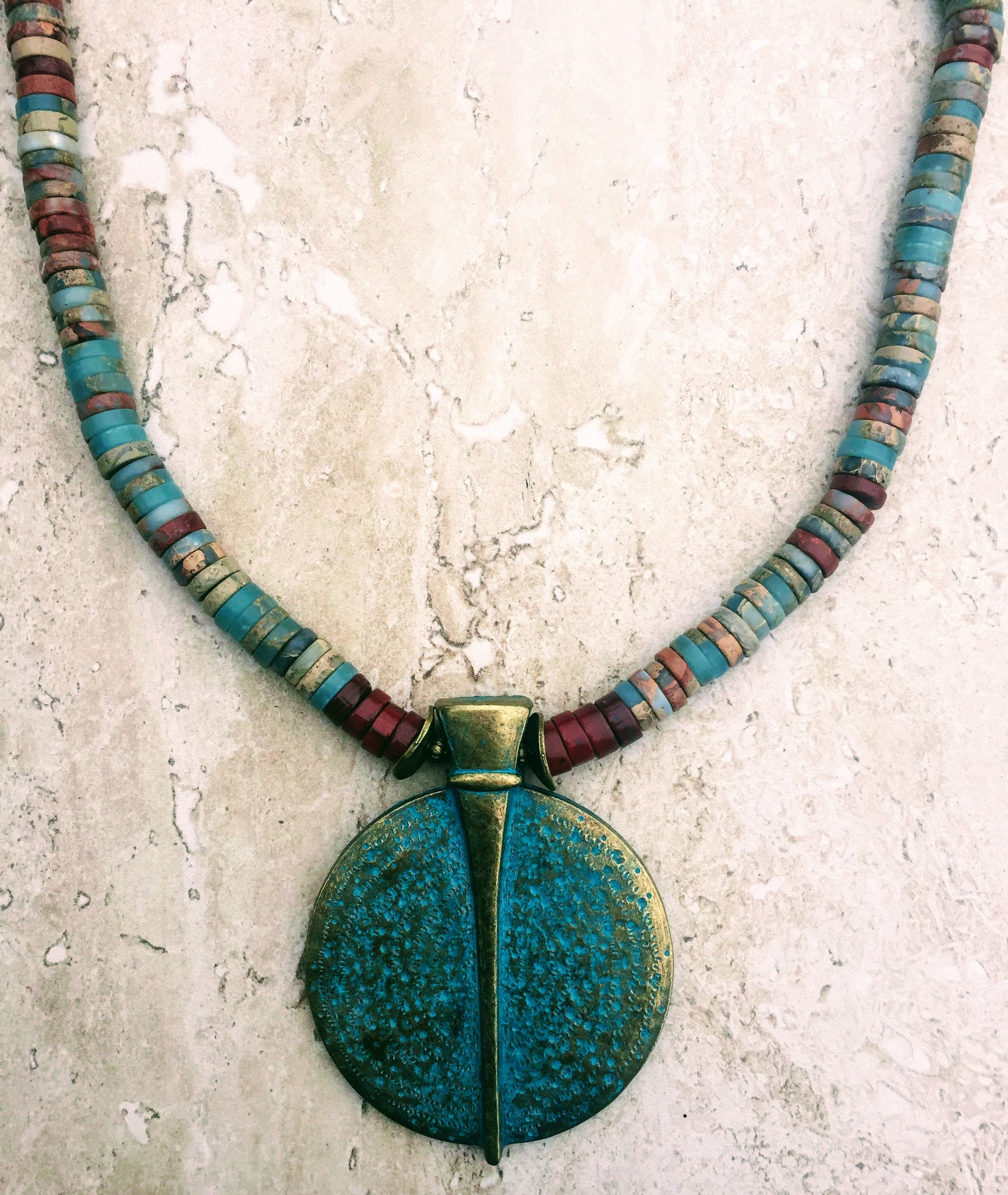 turquoise blue img necklace santo heishi and five shop domingo eagle strand green silver