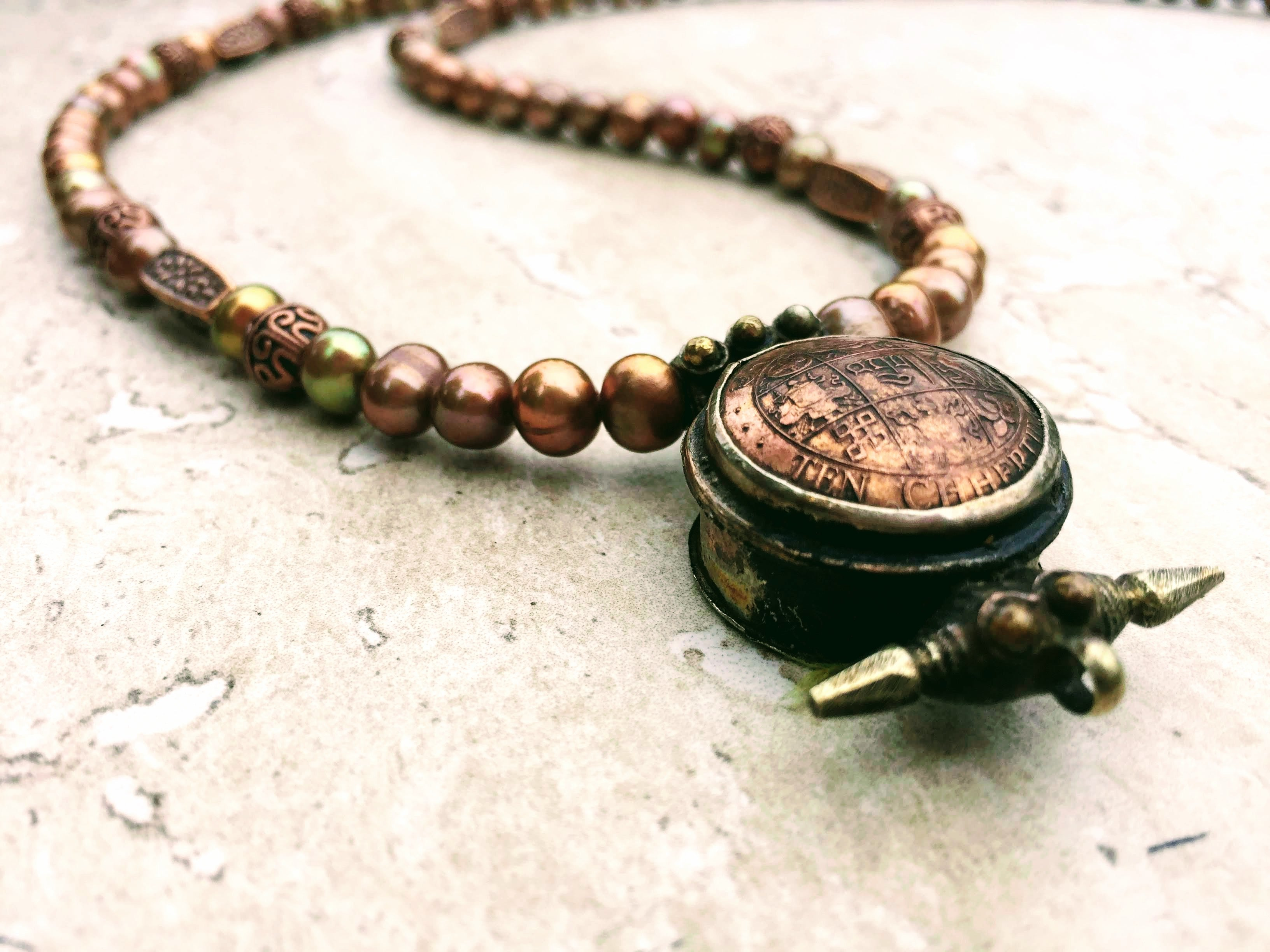 Chocolate Pearl Necklace Prayer Box Wish Box Antique Protection Amulet  Tribal Necklace