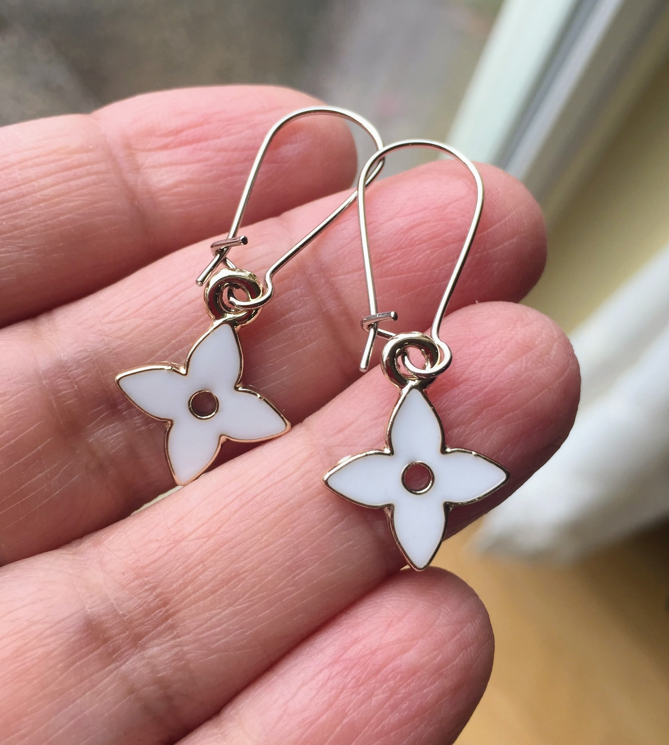 White Flower Earrings Delicate Floral Feminine Earrings Fab Stitches
