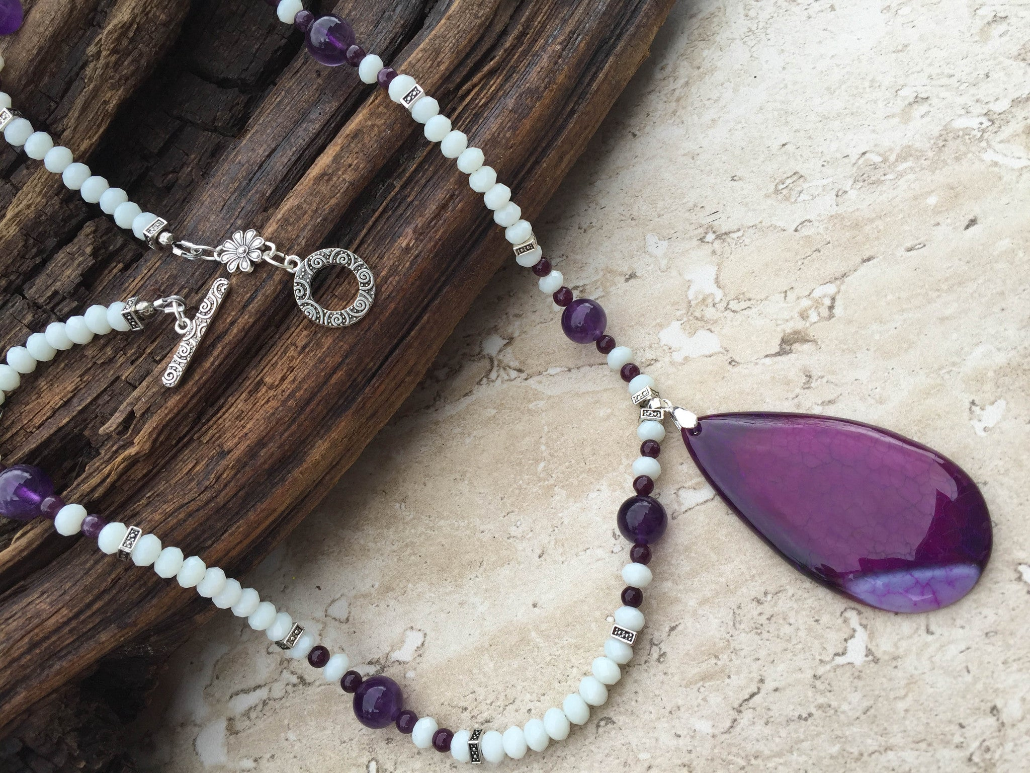 Agate necklace handmade jewelry artisan jewelry gifts under sold white and purple agate pendant necklace purple sage aloadofball Choice Image