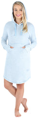 Women's Hooded Long Sleeve Tunic Soft Knit Nightgown with Pocket Pajamas in Blue Melange