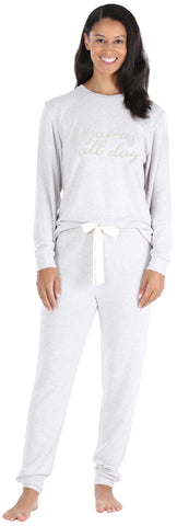 Women's Slouchy Lightweight Soft Knit Pullover and Jogger Pants in Oatmeal Melange