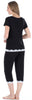 Women's Bamboo Knit 2-Piece Lace Trimmed Short Sleeve Top & Capri Pants Set