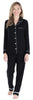 Women's Breathable Soft 2-Piece Long Sleeve Button-Down Pajama Lounger Set in Black