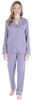 Women's Breathable Soft 2-Piece Long Sleeve Button-Down Pajama Lounger Set in Fleur de Lis Purple