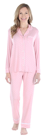 Women's Breathable Soft 2-Piece Long Sleeve Button-Down Pajama Lounger Set in Criss Cross