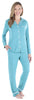 Women's Breathable Bamboo Soft 2-Piece Long Sleeve Button-Down Pajama Lounger Set