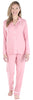 Women's Breathable Soft 2-Piece Long Sleeve Button-Down Pajama Lounger Set in Blush Pink