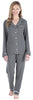 Women's Breathable Soft 2-Piece Long Sleeve Button-Down Pajama Lounger Set in Grey