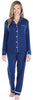 Women's Breathable Soft 2-Piece Long Sleeve Button-Down Pajama Lounger Set in Navy Blue