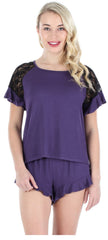 Ruffle Shortsleeve Shirt and Short Set in Dark Purple