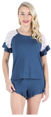 Ruffle Shortsleeve Shirt and Short Set in Navy