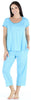 Women's Bamboo Jersey Short Sleeve Top and Capri Pajama Set