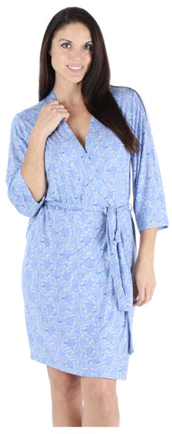 Women's Bamboo Jersey Short Wrap Robe in Bird Trellis