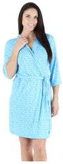 Women's Bamboo Jersey Short Wrap Robe in Blue Ditsy Floral