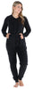 Women's Plush Fleece Non-Footed Onesie Pajama in Solid Black