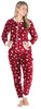 Women's Plush Fleece Non-Footed Onesie Pajama in Cranberry Stars