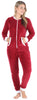 Women's Plush Fleece Non-Footed Onesie Pajama in Solid Cranberry