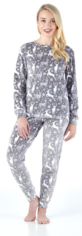 Women's Longsleeve and Pant Printed Pajama in Snow Deer