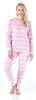 Women's Longsleeve and Pant Printed Pajama in Pink Flamingo