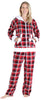 Women's Fleece 2-Piece Hoodie and Pant Pajamas Set in Red Plaid