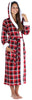Women's Fleece Sherpa-Lined Hooded Robe in Red Plaid