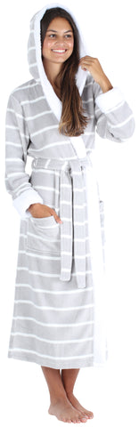 Women's Fleece Sherpa-Lined Hooded Robe in Light Grey with White Stripe