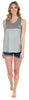 Women's Sleepwear Tank Top and Soft Denim Shorts Pajama Set in Grey