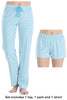 Women's 3 Piece Knit Pajama Set - Top, Pant and Short