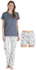 Women's Shortsleeve, Pant and Shorts Pajama Set in Grey Star