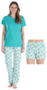 Women's Shortsleeve, Pant and Shorts Pajama Set in Palm Tree