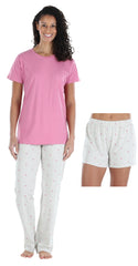 Women's 3 Piece Knit Pajama Set - Top, Pant and Short in Tiny Pink Hearts