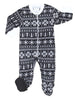 Winter Family Matching Black and White Fairisle Fleece Pajama Sets