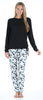 Women's Drawstring Shirt and Pant Pajama in Linear Dot Teal