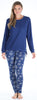 Women's Drawstring Shirt and Pant Pajama in Navy Snowflakes
