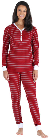 Women's Thermal Pajama Set in Red Stripe