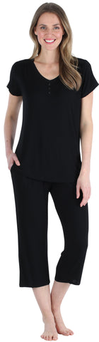Pajama Heaven Women's Bamboo Jersey V-Neck and Capri Pajama in black
