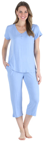 Pajama Heaven Women's Bamboo Jersey V-Neck and Capri Pajama in Solid Lavender