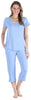 Pajama Heaven Women's Bamboo Jersey V-Neck and Capri Pant Set in Solid Lavender