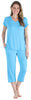 Pajama Heaven Women's Bamboo Jersey V-Neck and Capri Pant Set in Light Blue