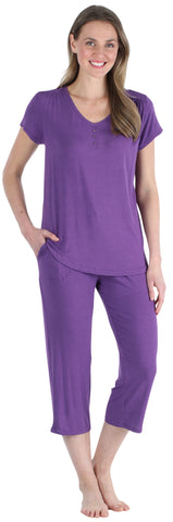 Women's Bamboo Jersey V-Neck and Capri Pant Set in Purple