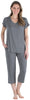 Women's Bamboo Jersey V-Neck and Capri Pant Set in Solid Grey
