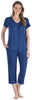 Women's Bamboo Jersey V-Neck and Capri Pant Set in Navy