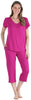 Women's Bamboo Jersey V-Neck and Capri Pant Set in Magenta